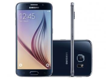 "Smartphone Samsung Galaxy S6 32GB Preto 4G - Câm. 16MP + Selfie 5MP Tela 5.1"" WQHD Octa Core"
