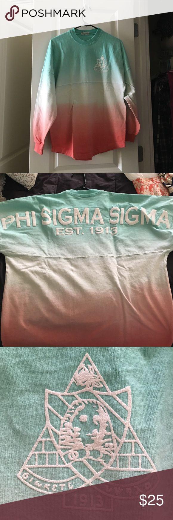 Phi Sigma Sigma Spirit Jersey Spirit jersey for Phi Sigma Sigma Sorority - teal and pink Spirit Jersey Sweaters Crew & Scoop Necks
