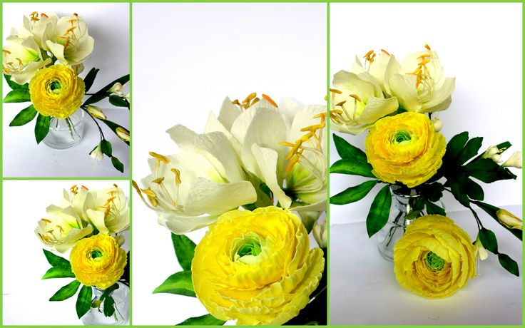 withe amarillis and yellow green ranunculus