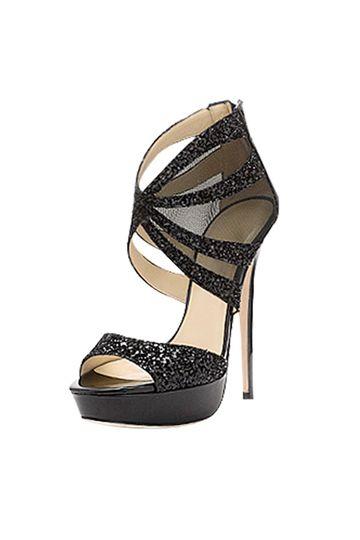 Black Gorgeous Shiny Heeled Sandals