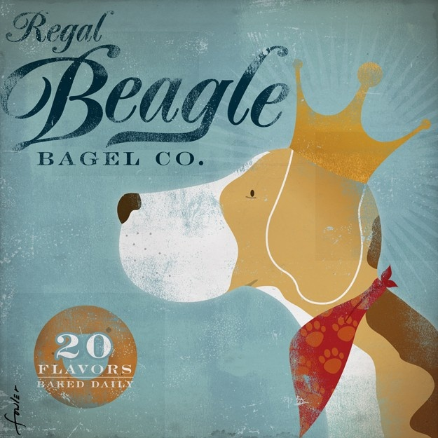Regal Beagle Bagel company vintage style graphic artwork on canvas 12 x 12 by stephen fowler. $80,00, via Etsy.