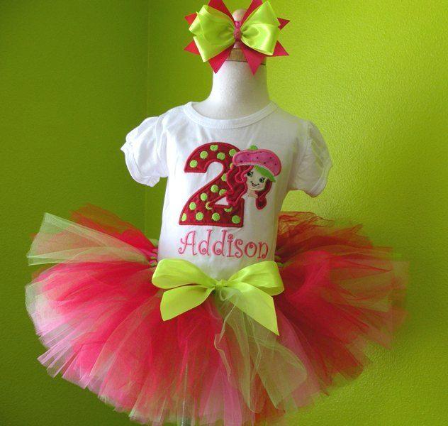#MC Strawberry Shortcake Birthday Girls Tutu Outfit by PoshBabyStore.com