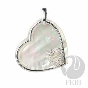 This Valentine's Day 2015 FERI Heart of Pearl -925 fine sterling silver - 0.5 micron natural rhodium plating  and mother of pearl - Dimension: 45mm x 35mm