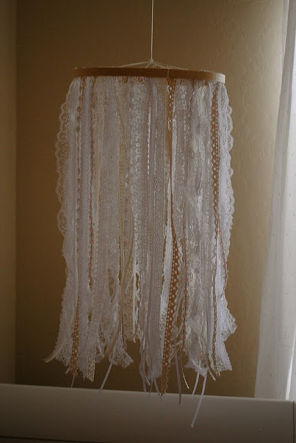 {DIY Lace & Ribbon Mobile} by the blog The Johnston's @Ashley Johnston