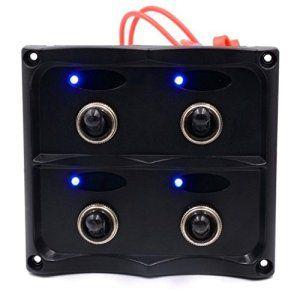 LED Interrupteur, hansee 4Gang Panneau LED voiture auto Bateau Marine étanche Interrupteur Disjoncteur électrique