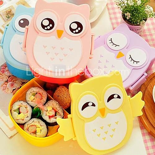 1050ml Cute Owl Lunch Box Storage Container Portable Bento Food Safe Picnic Container (Random Color) - USD $4.89