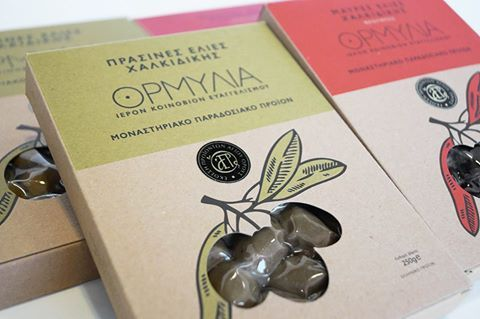 Greek Olives in Paper Packaging - Monastic  Olives from Chalkidiki stand out thanks to their unique taste and excellent quality. They are collected by the hands of nuns of the female Monastery of the Annunciation at Ormylia. They are ideal to flavor recipes of Greek cuisine and will amaze you from the first tasting. #monastic #greek #olives #chalkidiki #monastiriaka #proionta #cuisine #ormylia #chalkidiki #nuns #olive #groves