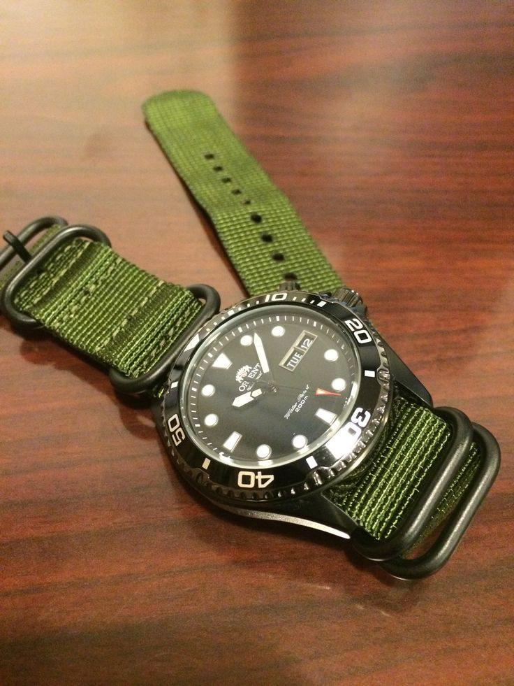 orient ray raven with green zulu nato strap watches. Black Bedroom Furniture Sets. Home Design Ideas