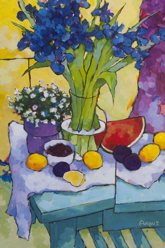Iris & Yellow Drape ~ artist Angus Wilson; acrylic on panel. #art #painting #contemporary