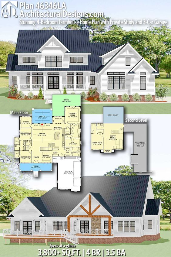 Plan 46346la Stunning 4 Bedroom Farmhouse Home Plan With Private Study And 3 Car Garage House Plans Farmhouse Farmhouse Plans House Plans