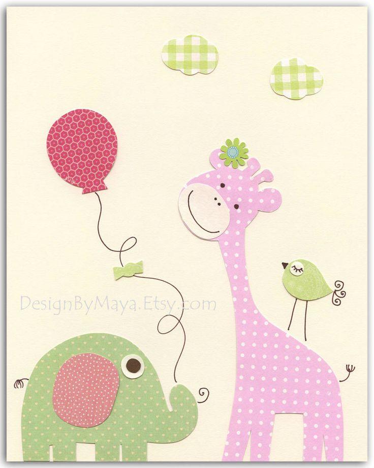 Baby girl nursery, Nursery wall art print, Baby girl room decor, baby elephant…