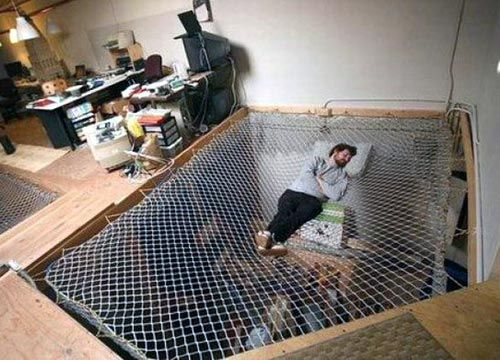 hanging beds - now here's an idea. We can build this over your room and you can still keep an eye on Lex and Ry.