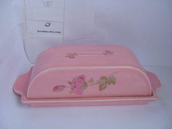 floral carnation pink handmade Butter Dish