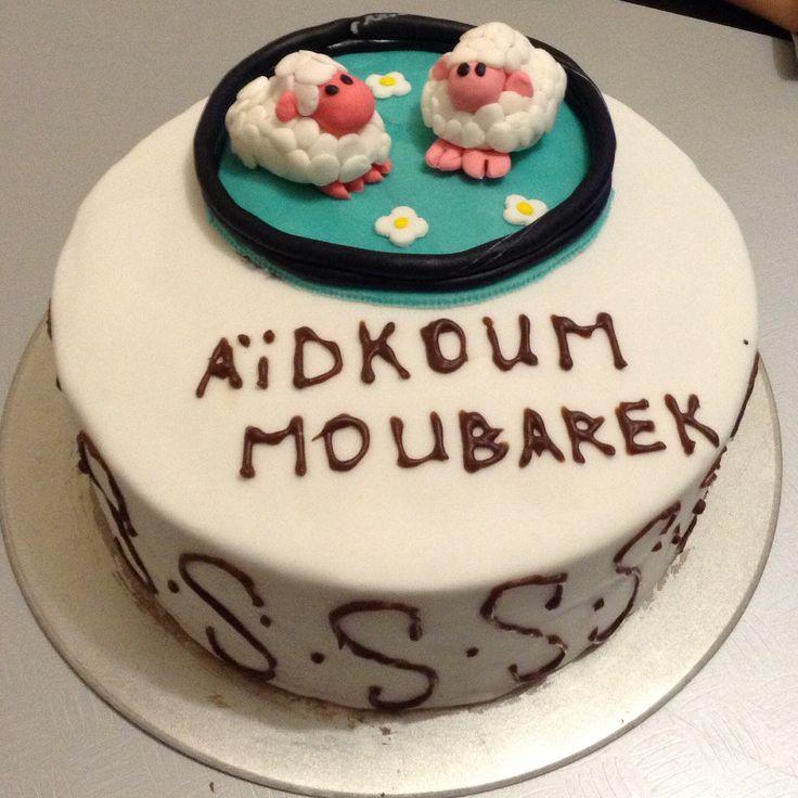 Cake à l'occasion de la fête musulman #cake #chocolat #ganache #pate à sucre #mouton #aid #fete #musulman