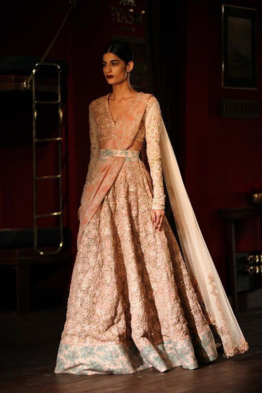 The Sabyasachi Couture Week 2014 was not but a spectacle and a lesson in elegance. Book your pastel Sabyasachi for a graceful look at the reception. Visit www.bridelan.com for more details. #Bridelan #Sabyasachi #sabyasachiweddinglehenga