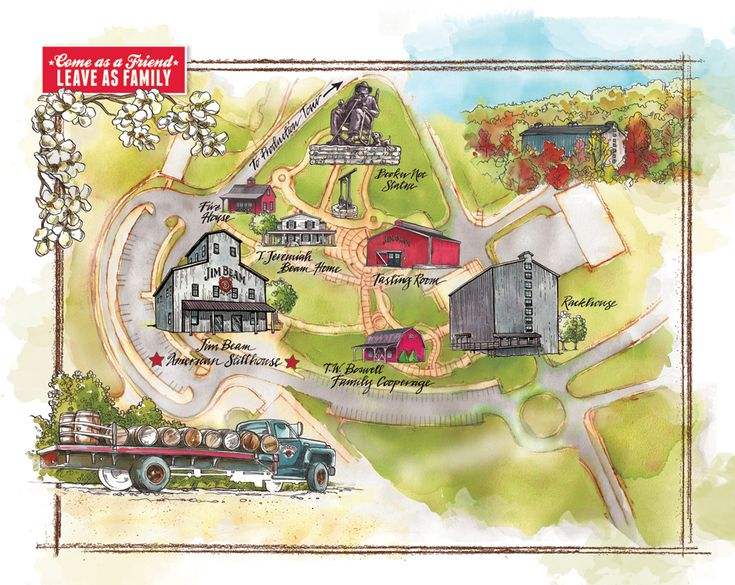 The Jim Beam distillery is only 30 minutes south of Louisville closer than t