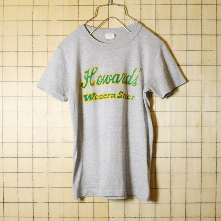 USA製 古着 グレー プリント キッズ Tシャツ 半袖 Howard's Western Steer キッズ140-150 子供服 アメリカ古着 Quaker Knit