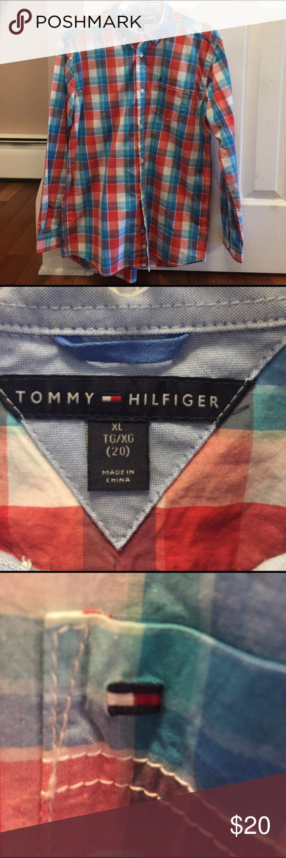 Tommy Hilfiger dress shirt! Boys XL (20) Tommy Hilfiger button down, very good condition, worn once. Easter colors!!🐣🐣 Tommy Hilfiger Shirts & Tops Button Down Shirts