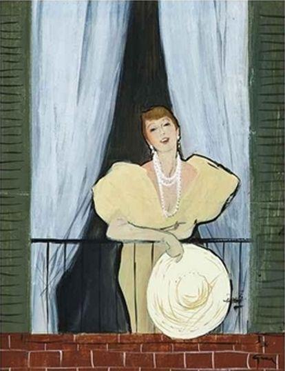 By René Gruau, ca 1950, The balcony (study).