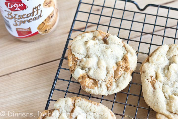 Biscoff Stuffed White Chocolate Chip Cookies | Dinners, Dishes and Desserts