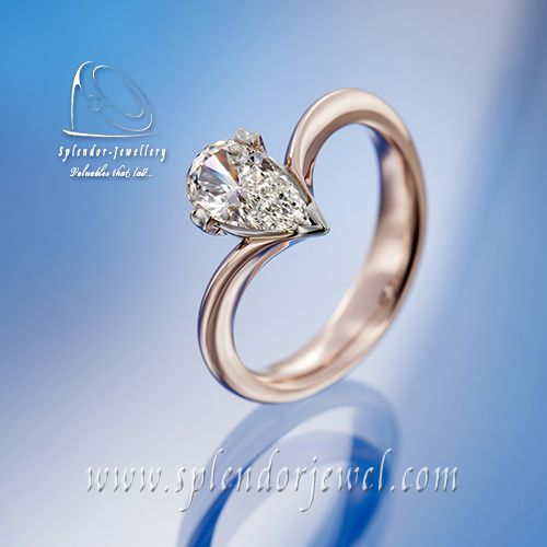 This is a classical and adorable ring shape. Fine pear shaped diamond embedded in platinum setting creates an elegant match with a rose gold shank. More ideas of a fancy cut diamond rings are available at www.splendorjewel.com