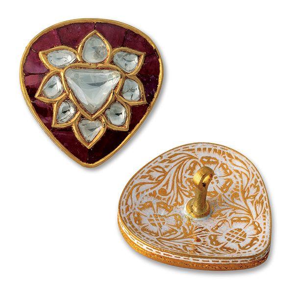 Indian Mogul polki diamond ruby buttons