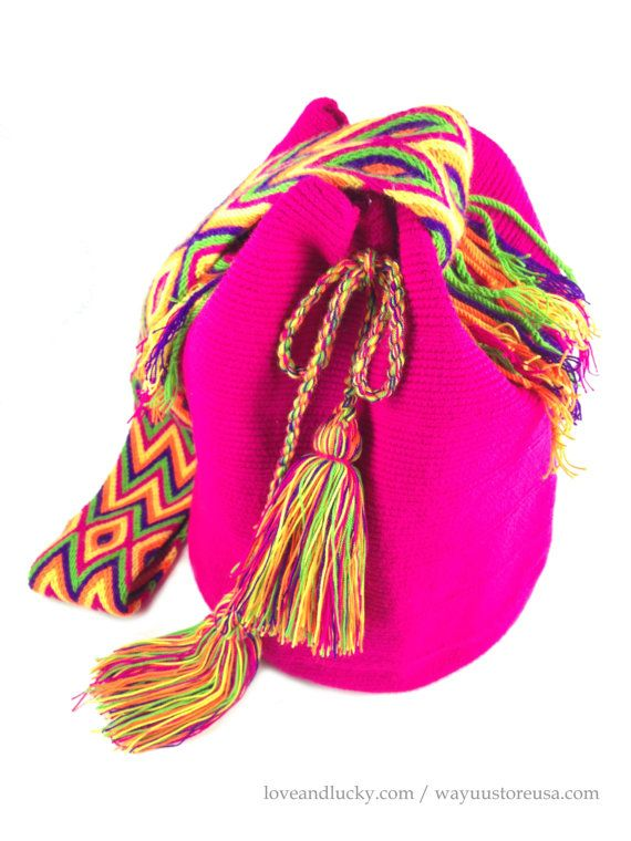 "Fuschia Authentic Wayuu Bags Wayuu Mochilas Bags handmade by the Wayuu Indigenous. Bag Size 11"" x 9"" - wybag-47"