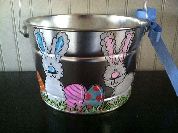 Adorable personalized Easter bucket Easter by pinkfishstudios