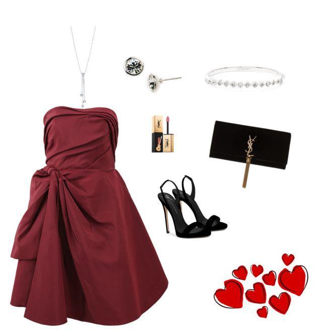 """red dress"" by nanaristha on Polyvore featuring Oscar de la Renta, Giuseppe Zanotti, Tiffany & Co., Givenchy and Yves Saint Laurent"