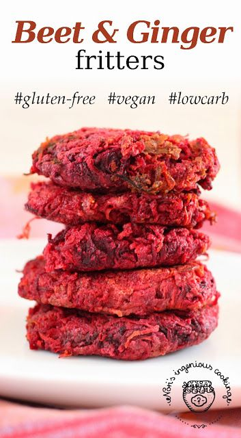 Beet & ginger fritters: 1 medium carrot, 1 medium beetroot, 1-2 teaspoons of freshly ground ginger, 1 clove of garlic, 2 tablespoons of chia seeds, water, rice flour