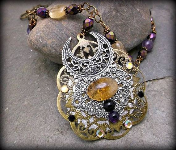 Wind - Amber Amulet With Pagan Baltic Sign For Change, Wheel of Life. Handmade Necklace - Spiritual New Age Pagan Baltic