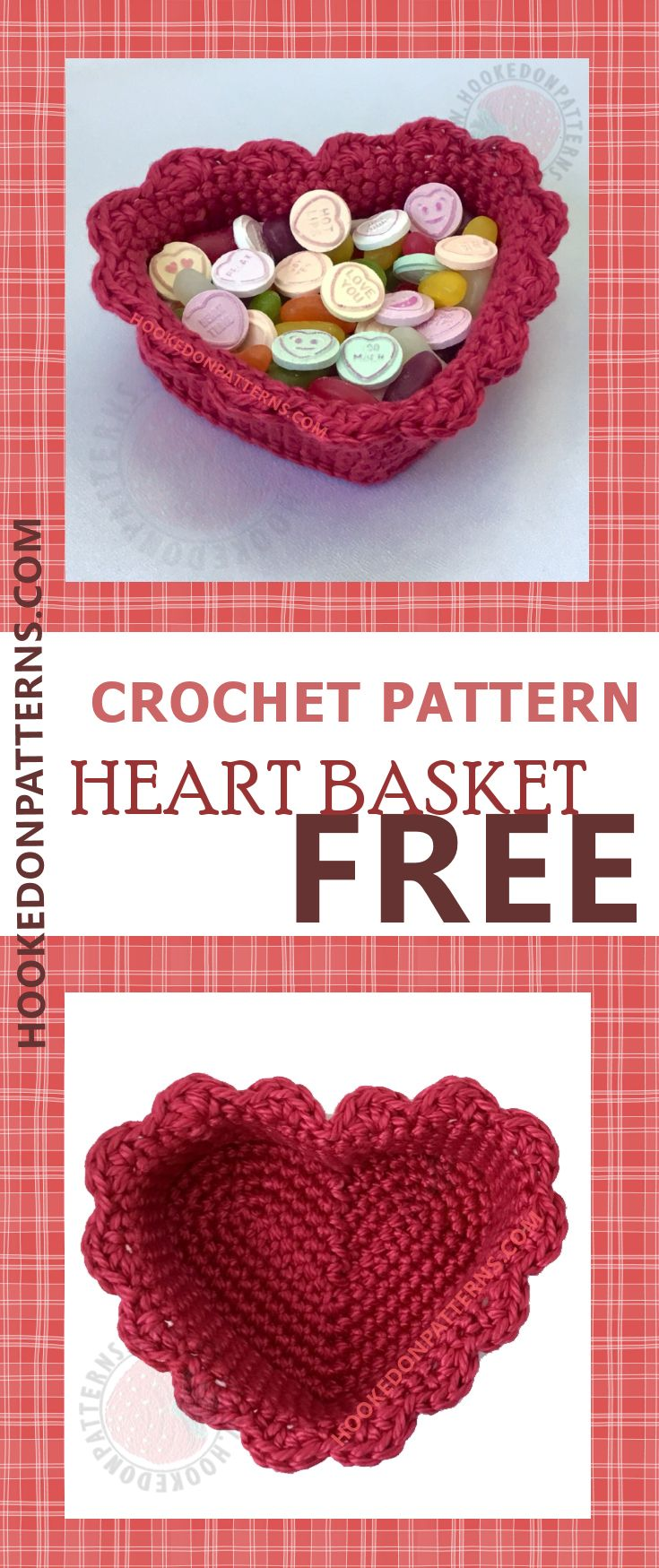 Free crochet patterns for beginners, a frilly heart basket. This heart basket is based on my free heart coasters crochet pattern and both are free to view at hookedonpatterns.com