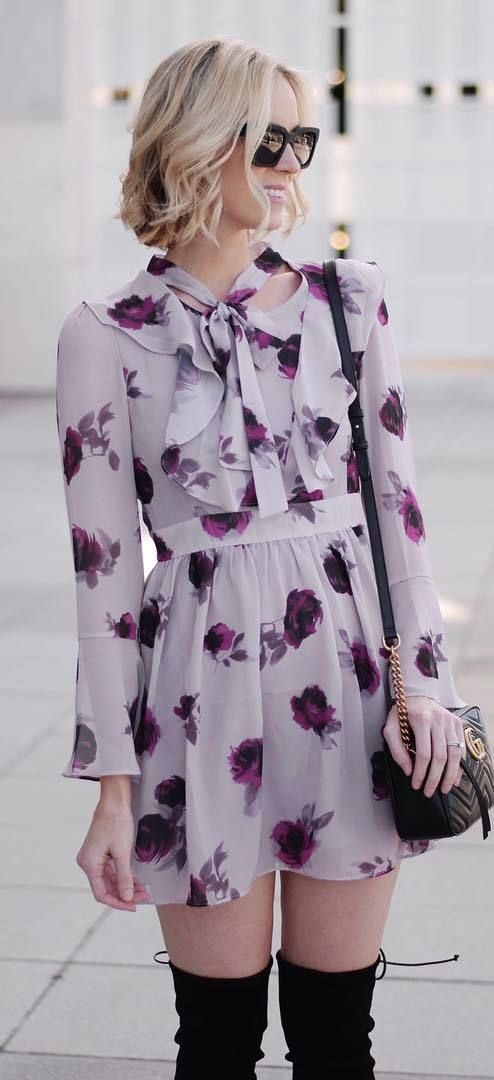 trendy outfit idea / floral dress + bag + over knee boots
