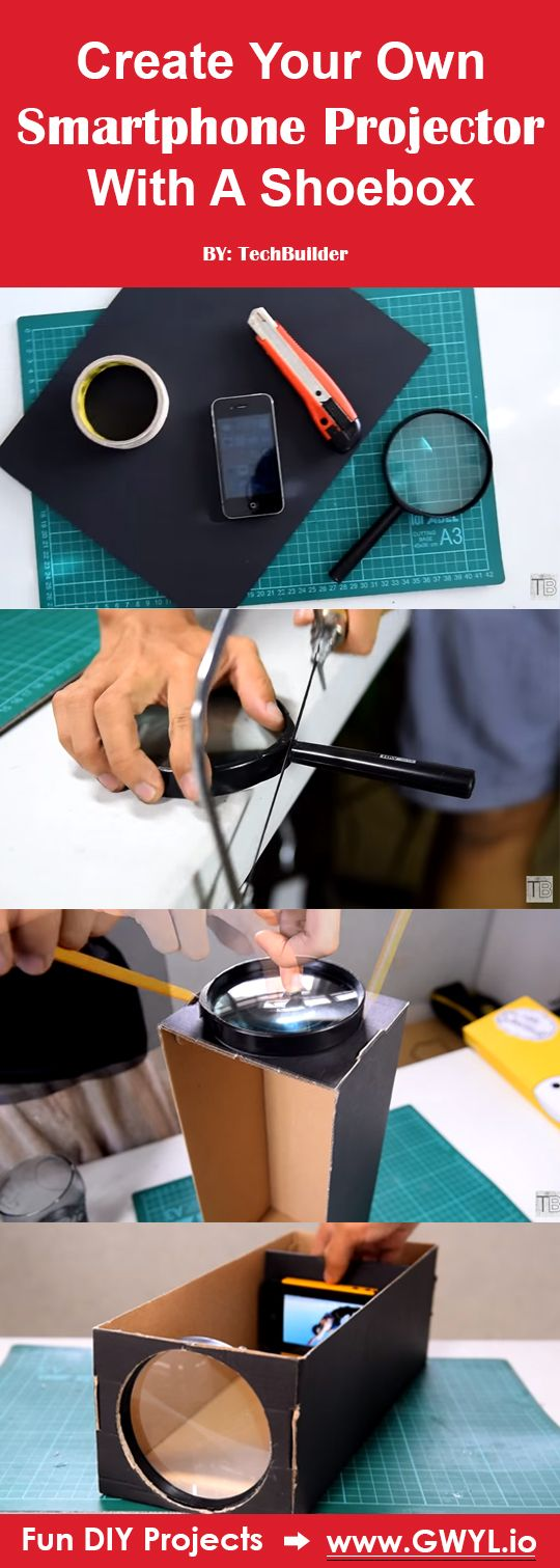 This DIY project surely is a fun and unique way to share your smartphone's screen to your friends or family to show-off holiday snapshots or the hottest viral video on your living room wall. | Create Your Own Smartphone Projector With A Shoebox | Video Tutorial Here---> http://gwyl.io/create-smartphone-projector-shoebox/