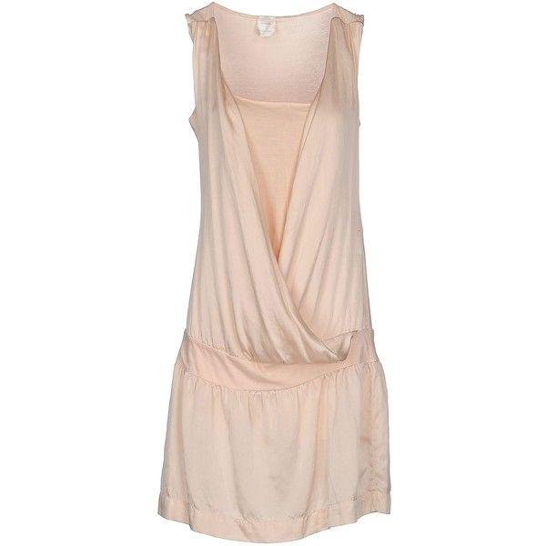 Daniele Fiesoli Short Dress ($98) ❤ liked on Polyvore featuring dresses, light pink, slip dress, light pink short dress, light pink dress, sleeveless dress and short dresses