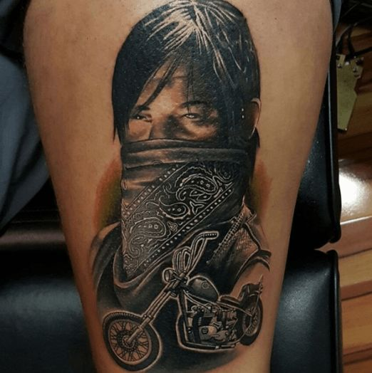 Bandana and bike ftw tattoo by adam blakey inked for Ftw tattoo meaning