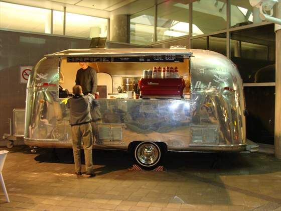 Vintage Airstream fitted out with a red La Marzocco. I have no words for how I am feeling right now