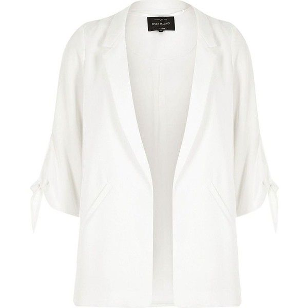 River Island White tie cuff blazer ($116) ❤ liked on Polyvore featuring outerwear, jackets, blazers, cuffed blazer, three quarter sleeve blazer, river island, blazer jacket and river island jackets