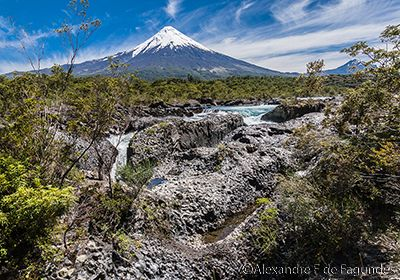 Petrohue Waterfalls and Osorno Volcano, Chile