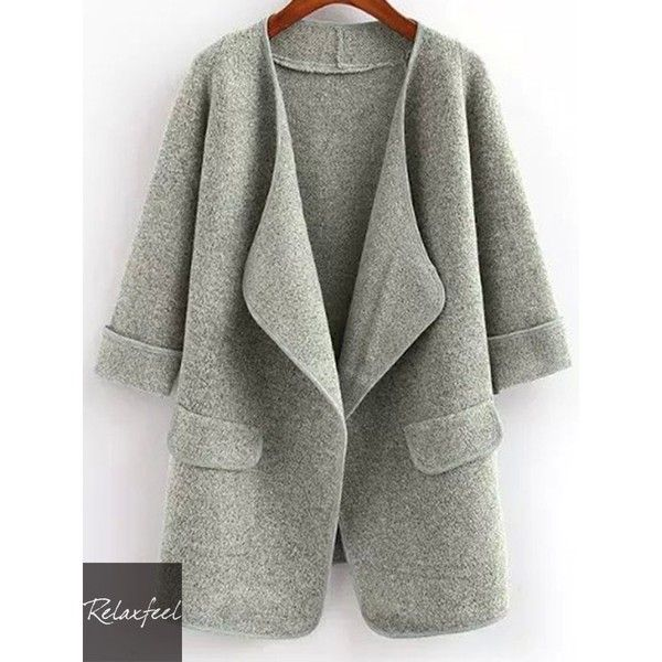 Relaxfeel Women's Solid Long Sweater Coat Grey (59 CAD) ❤ liked on Polyvore featuring green coat