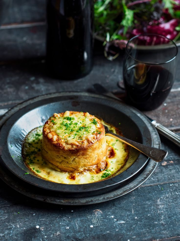 Double baked French onion soufflé