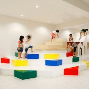 Pixy Hall by Moriyuki Ochiai  Architects Kindergarten creates negative space to climb on