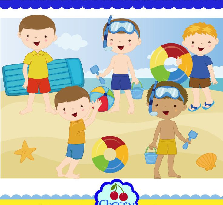 Summer time beach kids for boys clip art set-Personal and Commercial Use-paper crafts,card making,scrapbooking,web design by Cherryclipart on Etsy