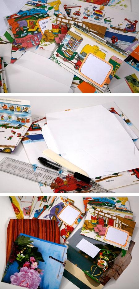 Kirjekuoria kierrätyspaperista (lastenkirjan sivut)