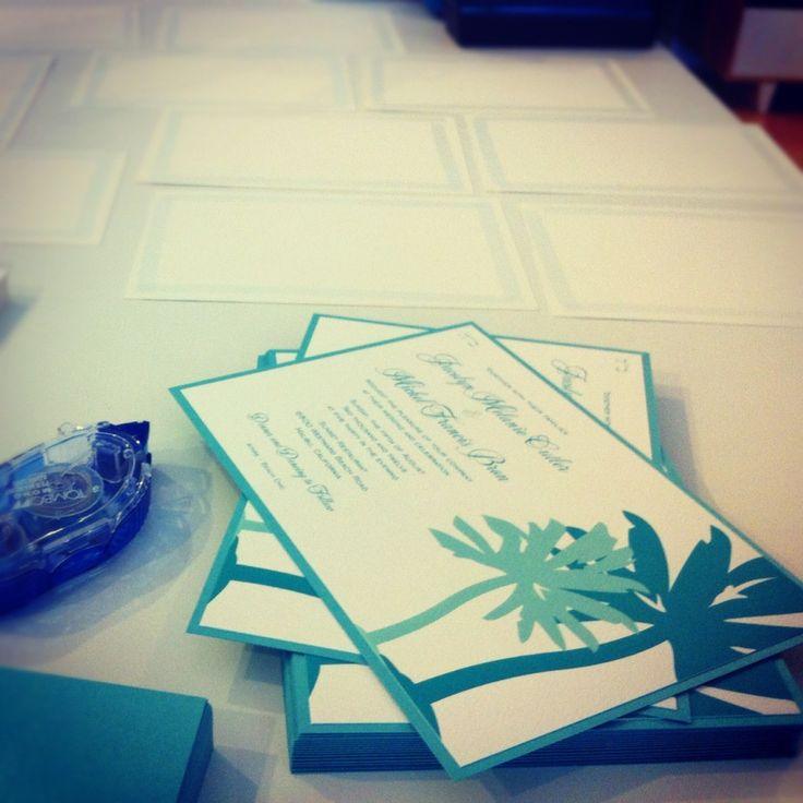 sample wedding invitation email wording to colleagues%0A The Green Kangaroo u    s layered Palm wedding invitation in shades of aqua