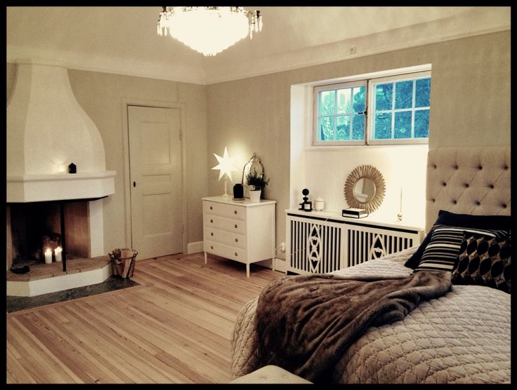 """Master Bedroom, walls """"Shaded White"""" Farrow and Ball. Fireplace"""