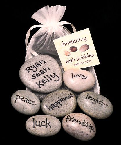 Personalised Christening Gift 7 Wish Pebbles, FREE P&P