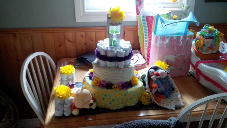 Winnie the Pooh themed diaper cake