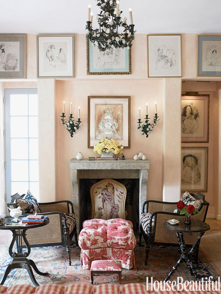 Antique patina is a theme that runs throughout the decor of designer Penelope Bianchi's Santa Barbara, California home. The pale pink walls of the master bedroom give the room a romantic glow.   - HouseBeautiful.com