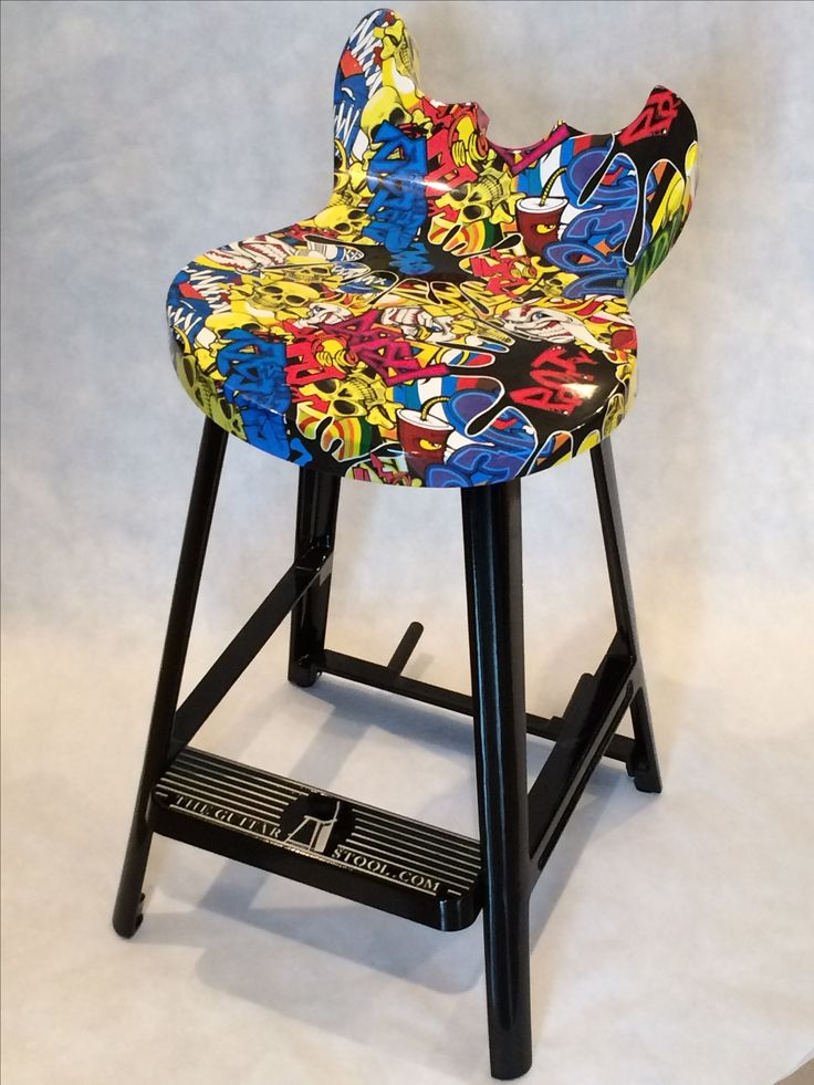 Graffiti guitar stool